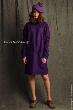 """Купить Платье из мериносовой шерсти """" Navy blue Vine"""" - тёмно-фиолетовый…"""