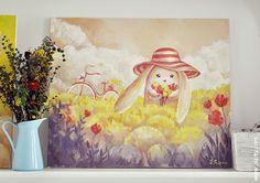 Bunny on bike. Illustration by Olga Yatsenko. www.olarty.com