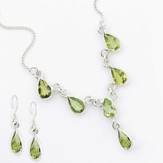 Stylish Silver Peridot Necklace with pair of earrings;Base Metal - Pure Sterling Silver with purity (Ornaments cannot be made with higher purity Silver); Peridot Jewelry, Peridot Necklace, Necklace Set, Pendant Necklace, Peridot Rings, Wedding Jewellery Designs, Indian Wedding Jewelry, Indian Jewelry, Jewelry Design