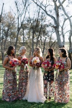 Our essential rundown of the biggest bridesmaids dress trends for with velvet bridesmaid dresses, patterned dresses and all things terracotta Printed Bridesmaid Dresses, Bohemian Bridesmaid, One Day Bridal, Bridesmaid Inspiration, Bridesmaid Ideas, Bridal Wedding Dresses, Bride Dresses, Bridal Style, Floral Wedding