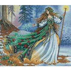 <li>Cross-stitch kit features beautiful 'Woodland Enchantress'<li>Counted cross stitch kit includes Aida cloth, thread sorter, embroidery thread, metallic thread, beads, needle and instructions<li>Needlework project is 14 inches wide x 12 inches high