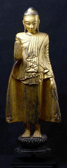 18th Century, Shan, Burmese Wooden Standing Buddha