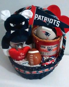 Easter and Spring Baskets Theme Baskets, Valentine's Day Gift Baskets, Valentine Baskets, Valentine Day Gifts, Valentines, New England Patriots Merchandise, Patriots Fans, Party Supplies, Unique Gifts