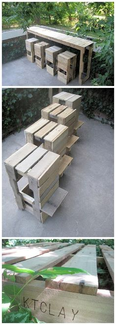 DIY Pallet Projects - Do it Yourself Pallet Bar Table with Stools with Footrests Woodworking Upcycle Tutorial via Stacked Design