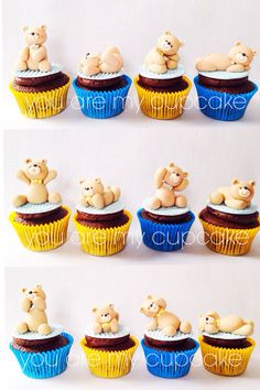 Teddy Bear Cupcakes | Color will match theme of light blue, ivory, and grey | Price: $3.00/unit. Minimum of one dozen.  Without bear $2.00/unit.