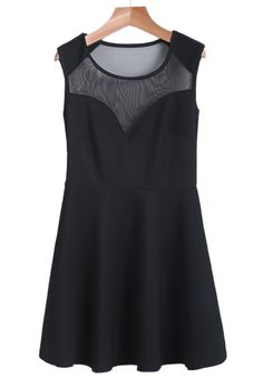 Black Contrast  Sleeveless A Line Dress