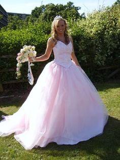 Pink wedding gown.