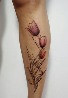 Three Tulip Tattoo By Aline Wata