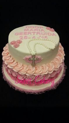 Dooptaart meisje roze christening www.sweetcakery.nl Amersfoort