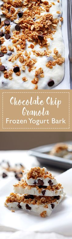 Chocolate chip granola frozen yogurt bark made with non-fat Greek yogurt and honey - the perfect quick snack or breakfast! Whip up a batch and keep it in your freezer. | honeyandbirch.com