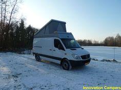 Innovation Campers (Germany) pop-top on an NCV3 Mercedes Sprinter regular-roof van.