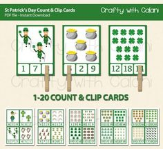 Need+a+fun+St+Patrick's+Day+activity+for+your+classroom?This+adorable+Count+and+Clip+cards+are+perfect+for+your+March+Math+classroom+activity.Good+for+counting+practice+and+number+recognition.+Clipping+the+number+will+also+beneficial+for+developing+fine+motor+ability.====+GAME+PLAY+====Count+the+items+shown+on+the+cards.