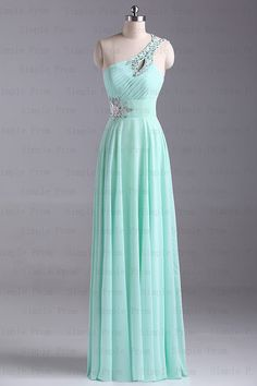 A-line One-shoulder Floor-length Sleeveless Mint Chiffon Fashion Prom Dress Bridesmaid Dress Evening Dress Party Dress 2013 With Sequins on Etsy, $109.00