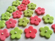 Edible Fondant Flower Cupcake  Cake Toppers