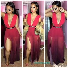 I know y'all going to ask sooo lol. the Dress is from: BeBe Belt: Chanel Earrings: Chanel Shoes: Louboutin's Supernatural Style Petite Outfits, Club Outfits, Sexy Outfits, Sexy Dresses, Fashion Outfits, Tammy And Waka, Tammy Rivera, Love Fashion, Girl Fashion