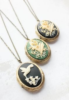 Cameo Necklace, Locket Necklace, Secret Hiding Spots, Romantic Nature, Oval Pendant, Lily Of The Valley, Brass Chain, Luxury Jewelry, Black Backgrounds