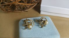 Gold Spiral Screw Back Vintage Earrings