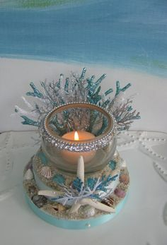 Starfish Beach Wedding Cake Topper~Seashells~Candle Holder Cake Topper