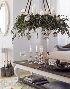 Loving this arrangement. :) Perhaps hanging over the dining table and not the coffee table - or as a table arrangement instead of hanging (minus the dangling ornaments with this option obviously) So pretty!