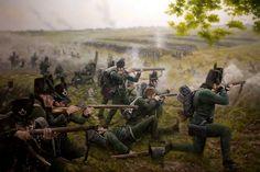Rifles at Waterloo- by Ferre Clauzel Military Art, Military History, Bataille De Waterloo, La Haye, British Army Uniform, Battle Of Waterloo, Waterloo 1815, Napoleonic Wars, American Civil War