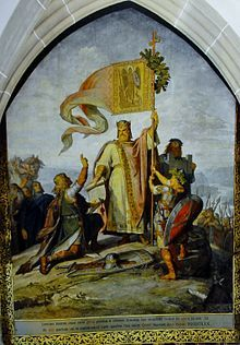 King Henry, with the banner of Archangel Michael, founds Albrechtsburg; 876-936 my 29th great grandfather
