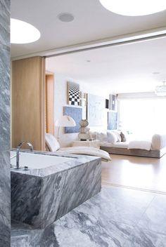 Slab marble tub surround I Kelly Wearstler Marble Interior, Bathroom Interior, Home Interior Design, Budget Bathroom, Small Bathroom, Bathroom Layout, Bathroom Designs, Master Bathroom, Bathroom Ideas