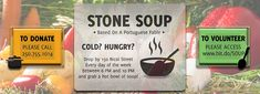 ~ Volunteer or Attend! ~ Wisteria Community Association of Nanaimo is Seeking Volunteers & Donations for Stone Soup for the Cold & Hungry! Stone Soup, Warm Food, Fundraisers, Wisteria, Volunteers, Community, Cold, Messages