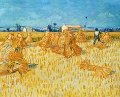 """Harvest in Provence"" in June 1888 by Vincent Van Gogh (Zundert 1853 - Auvers-sur-Oisse 1890). Oil on canvas (50x60cm). The Israel Museum, Jerusalem. From ""Wheat Fields""  a series of  paintings borne out of his religious studies and sermons, connection to nature, appreciation of manual laborers and desire to provide comfort to others. The painting, made just outside of Arles, is an example of how Van Gogh used color in full brilliance to depict ""the burning brightness of the heat wave."""