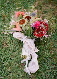 Colourful farm wedding with short wedding dress