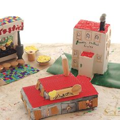 Build a few structures or a whole town from household boxes and found objects.