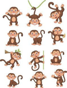 """Buy the royalty-free Stock vector """"Vector illustration of Happy monkey cartoon collection set"""" online ✓ All rights included ✓ High resolution vector fil. Drawing For Kids, Art For Kids, Monkey Illustration, Monkey Crafts, Monkey Tattoos, Pet Monkey, Monkey Business, Cute Animals, Creations"""