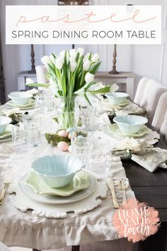We've put together a pretty pastel spring dining room table to share with you. Plus all the resources for you to create it at your house too!  With each season, and sometimes more often than that, we like to put together a new table setting to inspire you to create a pretty table at home....
