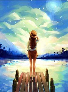 Wharf Girl Looking into Distance Hand Painted Design Needlepoint Canvas C Mode Poster, Cute Girl Wallpaper, Kitty Wallpaper, Digital Art Girl, Anime Scenery, Anime Art Girl, Manga Art, Cute Drawings, Amazing Drawings