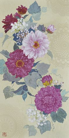Japanese Painting, Chinese Painting, Japanese Art, Ancient Indian Art, Wallpaper, Floral, Flowers, Artist, Color