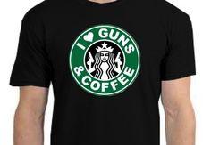 I Love Guns And Coffee Men's T in Black - Ryan's Daughters