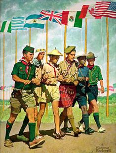 "BSA (Boy Scouts of America)/Senior Scouts - ""1967 Breakthrough for Freedom""   In 1967, the World Jamboree was held in the US in Idaho.  To commemorate this, this painting of International scouts from the 1963 World Jamboree in Greece was done (Norman Rockwell). It is based on a photograph of a group of scouts marching into one of the arena shows."