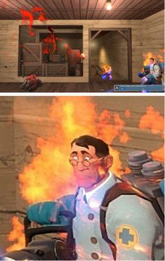Well diddly darn I'm on fire Video Game Memes, Video Games Funny, Funny Games, Tf2 Funny, Team Fortress 2 Medic, Tf2 Memes, Team Fortess 2, Red Vs Blue, Gaming Memes