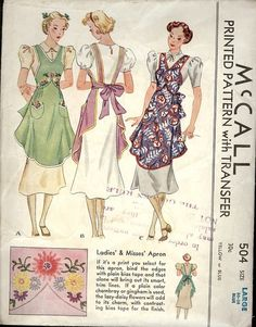 1937 McCall's 504 apron So cute! Would love to get this one! More