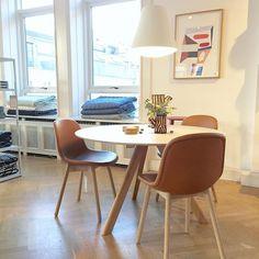 Neu chair i cognac skinn og Cph table round. #hay #neuchair #hayhousecopenhagen #haydesign #haynorge by haynorge