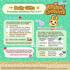 """""""Finished making the """"Ultimate Friendship Handbook""""!😊 This guide talks about all the friendship mechanics in . I hope it helps! (second half in comments) Animal Crossing Guide, Animal Crossing Villagers, The Legend Of Zelda, Kingdom Hearts, Nintendo Switch, Fandoms, Animal Games, New Leaf, Coding"""