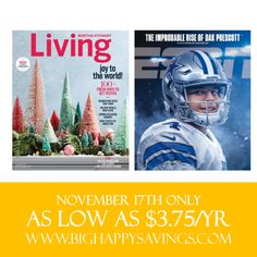 Hot Magazine Subscription Deals - Check out DiscountMags.com today for two hot magazine subscription deals. Today only, you can get a 2-year ESPN subscription for $7.50 (Reg $52.00); and Martha Stewart-Living 1-year subscription is on sale for $4.97 (Reg $20.00). That's up to an additional 85% off the discounted price a...  http://www.bighappysavings.com/blog/2016/11/17/hot-magazine-subscription-deals/