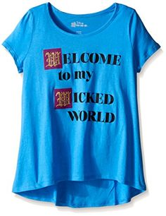 "Disney Descendants Girls' ""Welcome to my Wicked World""Blue Hawaii tee- high/lo hem"