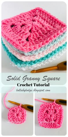 Learn how to Crochet a Solid Granny Square and What to Make With Them. Learn how to Crochet a Solid Granny Square and What to Make With Them… : Lullaby Lodge: Learn ho Granny Square Pattern Free, Easy Granny Square, Sunburst Granny Square, Granny Square Blanket, Granny Square Crochet Pattern, Crochet Squares, Crochet Blanket Patterns, Crochet Ripple, Crochet Blocks