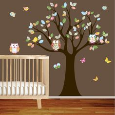 from etsy vinyl wall decal stickers owl tree set nursery girls baby