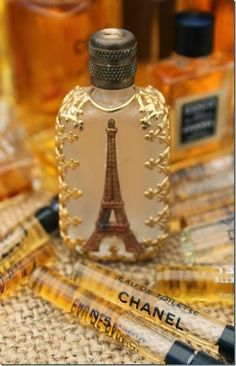 Vintage Eiffel Tower perfume sample bottle