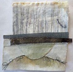 Marshscape Collage #6, Cotton duck, linen, metal, found thread