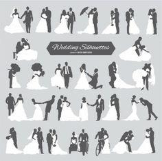 Six couples de mariage en silhouette