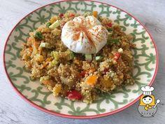 Quinoa con veduras salteadas y huevo flor - Vuelta y Vuelta