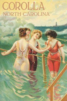 Corolla, North Carolina - Beach Scene with Three Ladies In Swim Attire in Water