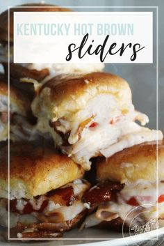 I love this slider recipe. Tender turkey on slider buns, topped with bacon, tomato and a homemade cheese sauce. #hotbrownslider #sliderrecipe Hot Turkey Sandwiches, Slider Sandwiches, Sliders, Best Sandwich Recipes, Top Recipes, Yummy Recipes, Appetizer Recipes, Appetizers, Healthy Recipes
